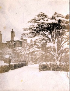 Trevor Hal in the snow, c1890