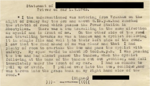 Witness statement, coroner's papers 1936. CRD/1693