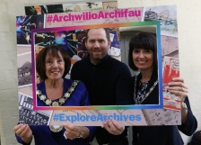 Chair, Cllr Ann Davies and consort, Jane Hugo with Chef Bryn Williams