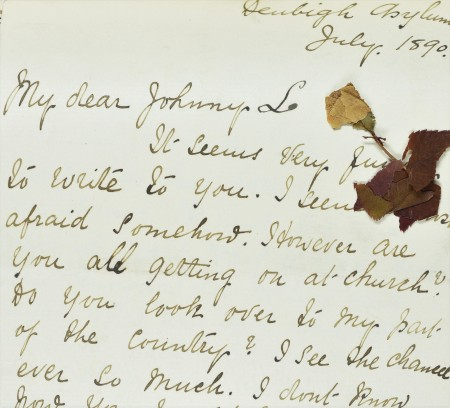 A letter written by Ann to her music teacher in July 1890, including a pressed flower.